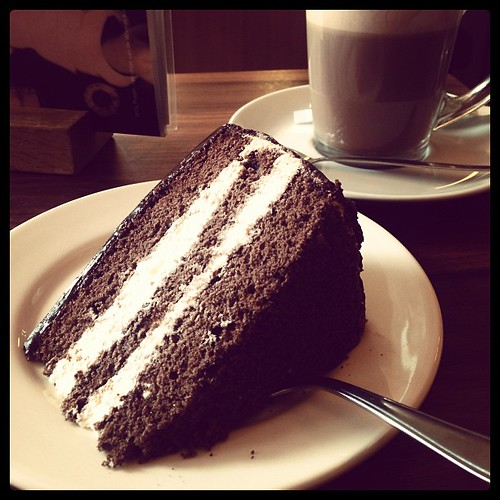 #my favourite #cake ever- #sacchertorte at a #viennese #cafe in #the Hague. Soft, hints of #coffee in the cream and addictive!