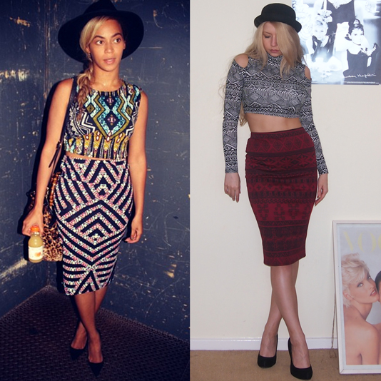 Beyoncé Knowles, Sam Muses, Aztec Print, Chevron, Topshop, Primark, Crop Top, Midi, Pencil Skirt, Cold Shoulder, Cut-Out, UK Fashion Blog, London Personal Style Blogger