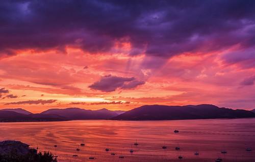 sunset summer panorama sunlight seascape night clouds landscape scotland cloudy eveningsun argyll calm yachts tranquil schottland holyloch ecosse scozia lochlong cowal cowalpeninsula 2013 firthoftheclyde canonpowershotsx50hs
