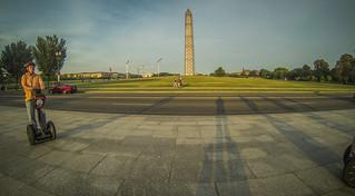 Houston on Segway with Washington Memorial