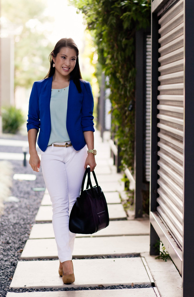 loft cobalt blue blazer, mint green top, white skinny jeans, yellow pumps, celine mini luggage tote