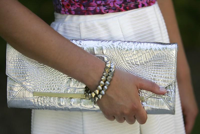 brahmin alexis clutch, style tab, fashion blogger, metallic clutch