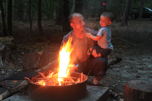 Camping at Prince William Forest Park - Ryan and Sagan At Fire