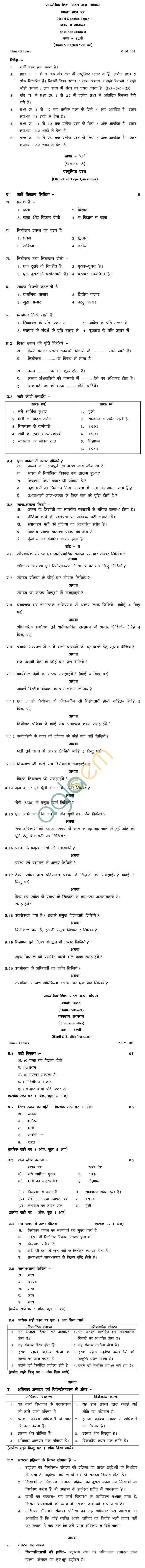 MP Board Class XII Business Studies Model Questions & Answers - Set 1