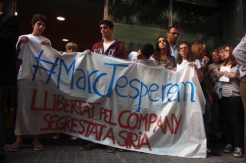 Pancarta pidiendo la liberacion de Marginedas