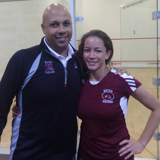 Bates Squash Coach Pat Cosquer and Women's Player Myriam Kelly