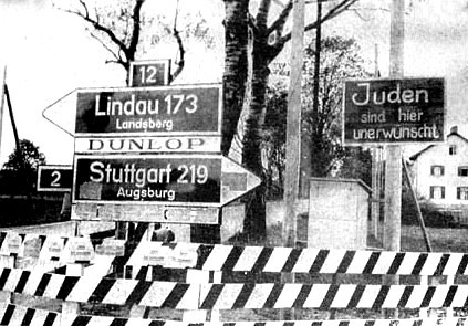An anti-Jewish street sign in Germany