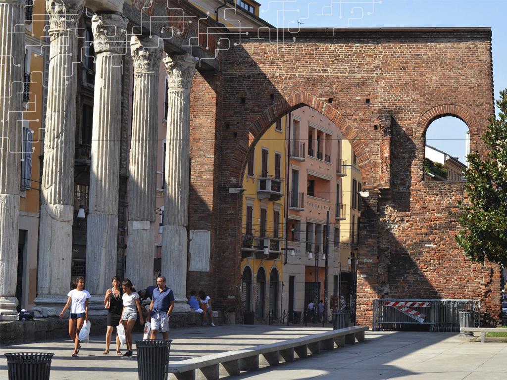 Ruínas do antigo muro de Milão