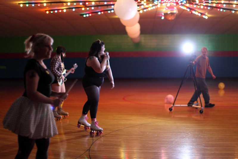 Kitten Forever music video shoot at Skateville