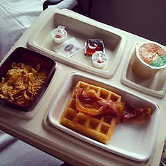 Fancy that. Bacon and waffles,