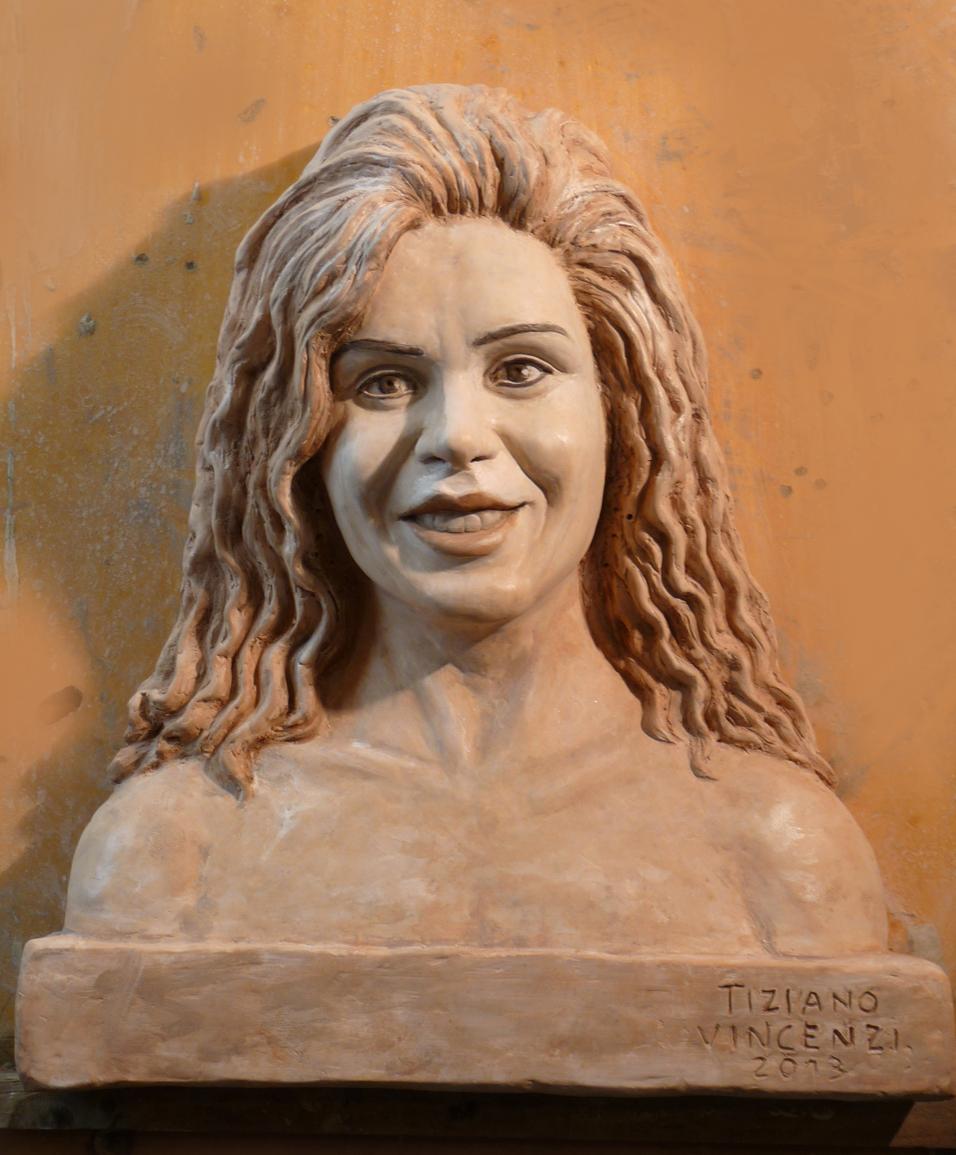 ritratto di signora terra cotta patinata marmo