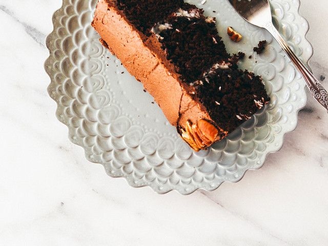 Double chocolate cake with coconut-pecan filling