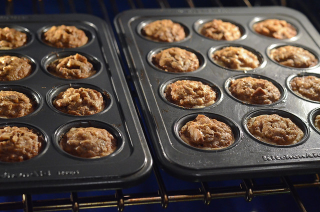 Pecan tarts baking in the oven.
