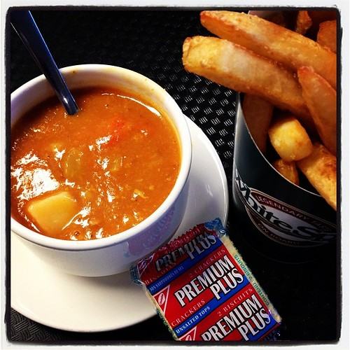 December 23 - Tradition. BC Ferries Clam Chowder with fries to dip!
