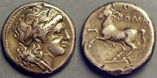 026/2 Drachm. early Roman coinage Apollo; horse, 3g20, STR coll. ex NAC61 RBW. Of the highest rarity,