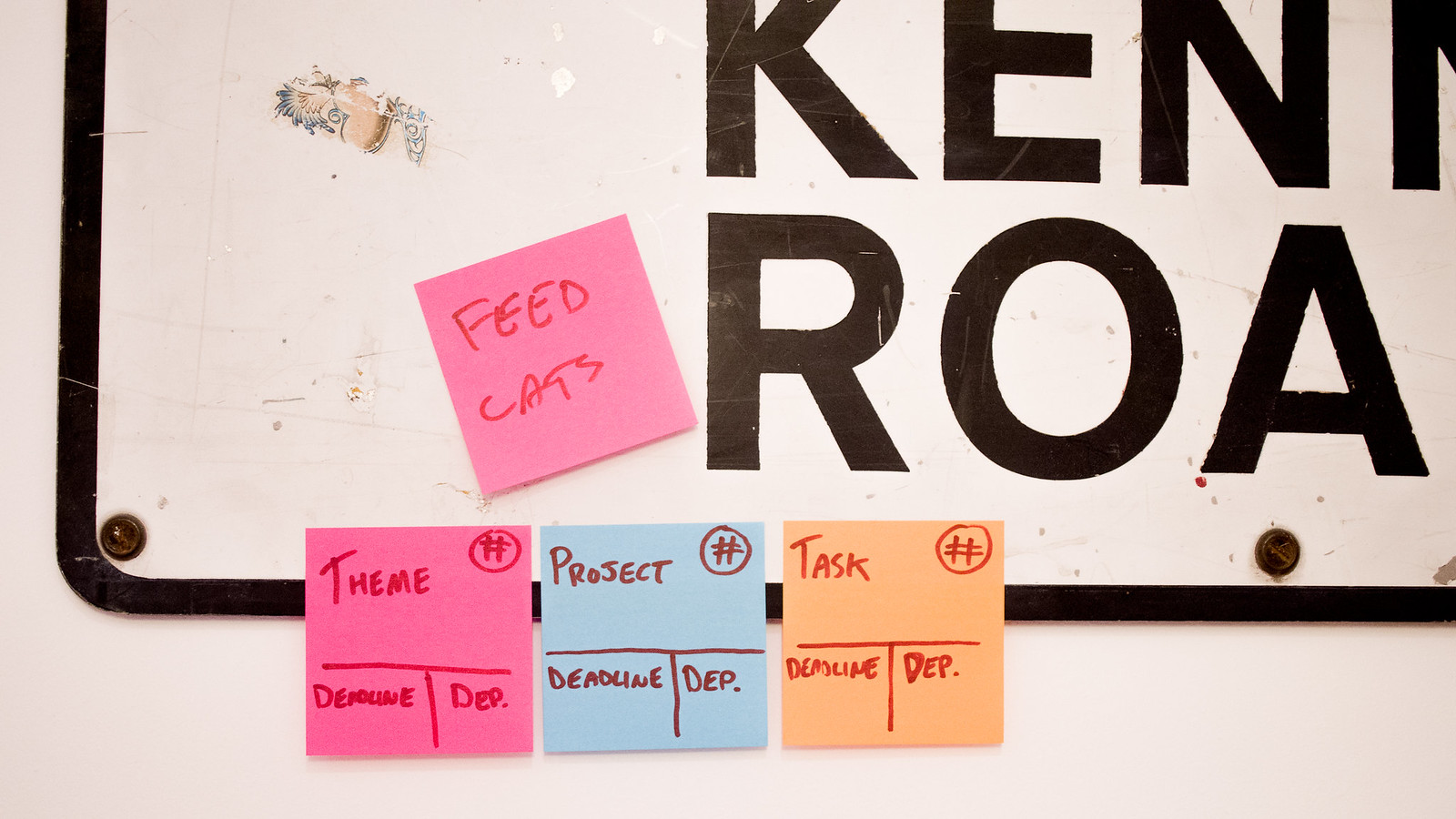 A picture of post it notes on a wall - three technical ones in a neat line, then one reminder to feed the cats in pride of place