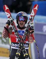 Guay celebrates a 3rd place finish in the downhill at the FIS Alpine World Cup in Bormio, ITA
