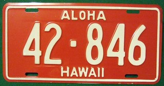 HAWAII 1957-61 ---TRUCK LICENSE PLATE