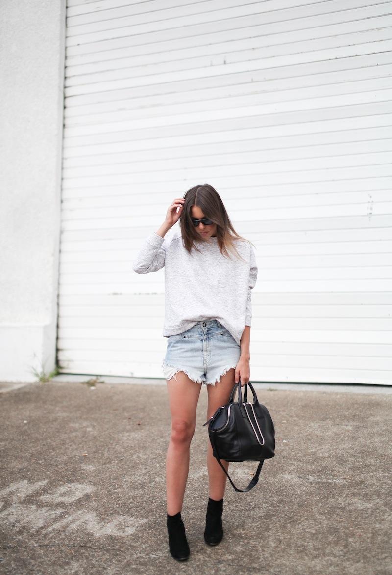 modern legacy fashion blogger Australia street style one teaspoon cutoff denim shorts heather grey sweatshirt suede ankle boots alexander wang jamie chastity bag  (2 of 10)