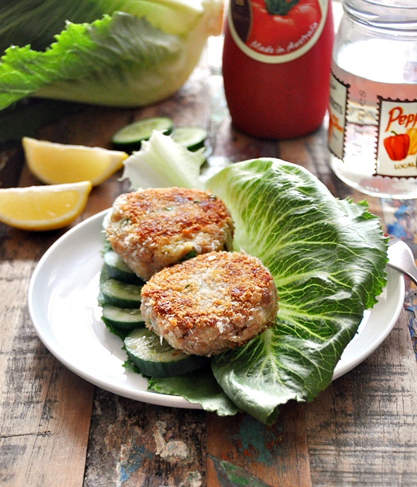 Tuna, Pea & Potato Patties - Served San Choy Bao Style | www.fussfreecooking.com