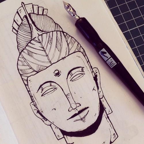 Siddharta. #illustrator #illustration #ink #art #siddharta #instagood #inspiration #draw #drawing #sketchbook #buddha #sketch #fountainpen by Hiek