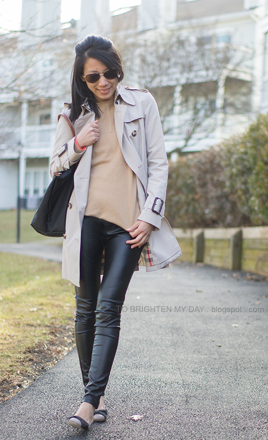 trench coat, camel sweater, leather pants, bow flats