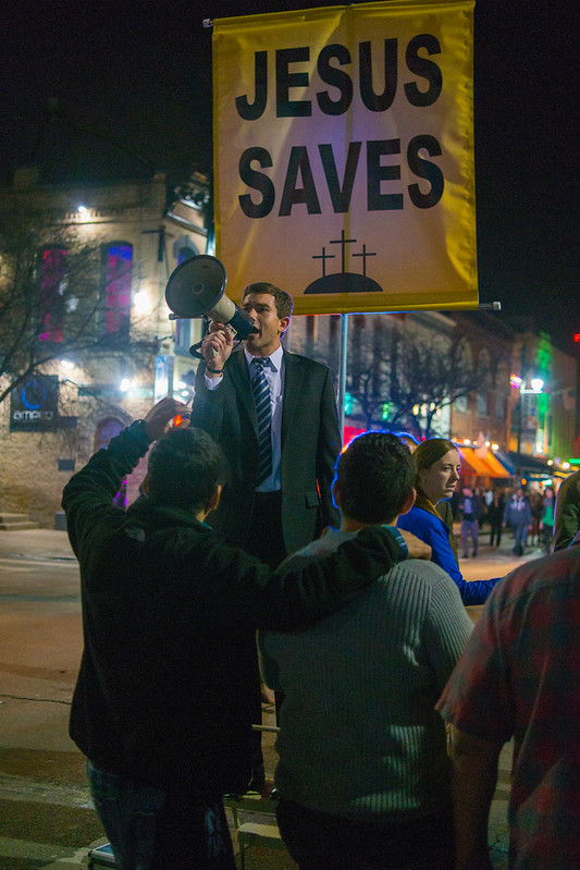 Jesus Saves Street Prophet on 6th Street SXSW