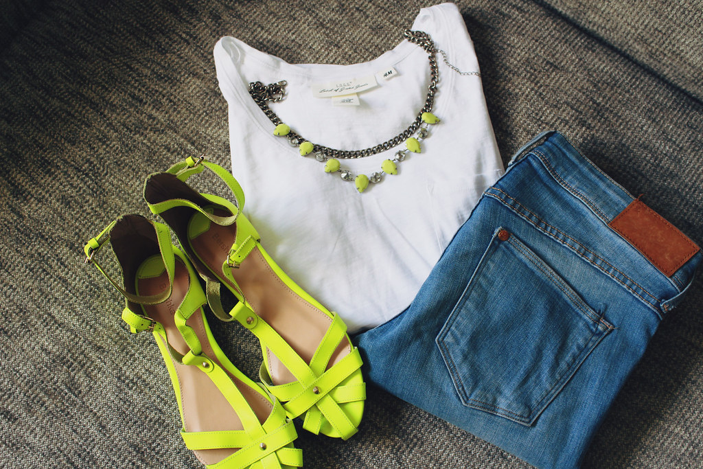 neon color sandals, white t shirt, blue jeans- perfect summer outfit
