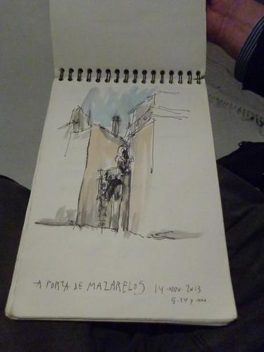 Porta de Mazarelos. Debuxo de Pablo Tomé