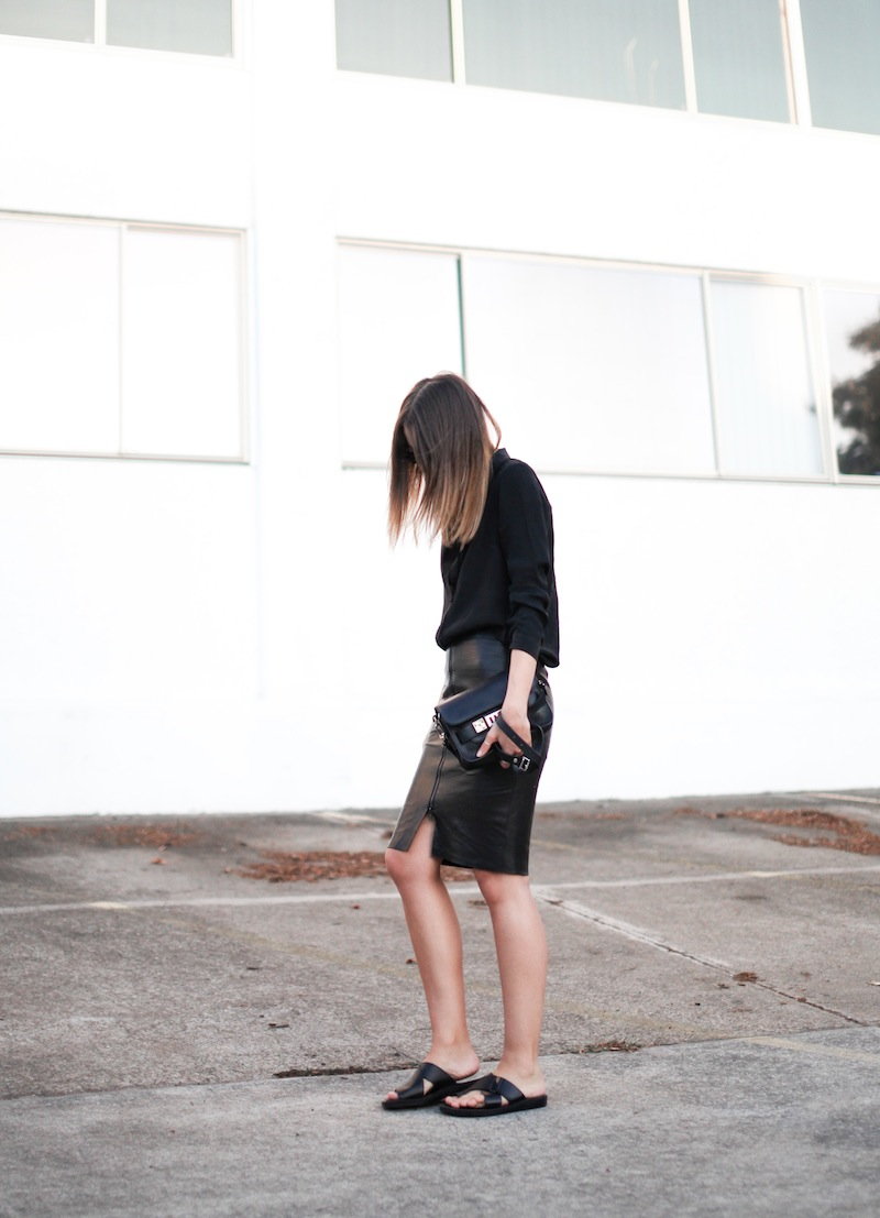 modern legacy fashion personal style blog australia leather pencil skirt KAHLO Proenza Schouler PS11 mini vs classic silk shirt slide sandals street style all black everything (11 of 13)
