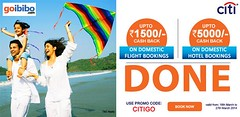 Rs.1500 Off on domestic flights & Rs.5000 Off on domestic hotels