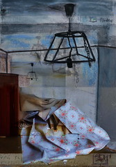 Lamp x 4, Wallpaper, Open Door - 2 Drawings by Michael Szpakowski merged with 2 of my photos