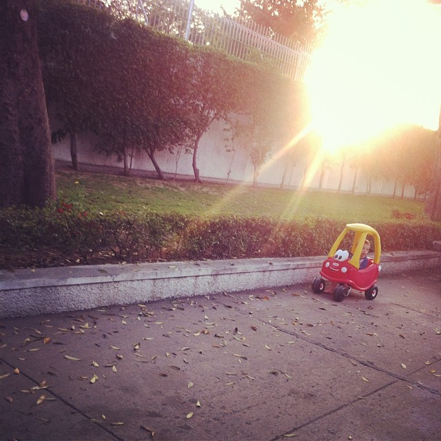Taking the coupe out for a #sunset ride #toddlers