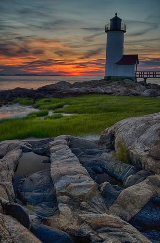 light sunset sky lighthouse colors boston massachusetts north newengland east rockformations annisquam