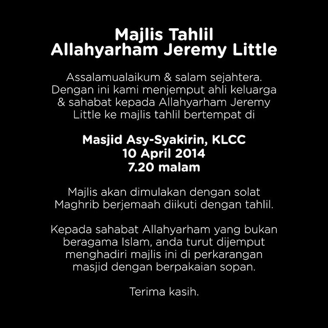 Majlis Tahlil Jeremy Little di Masjid Al-Syakirin KLCC Hari ini
