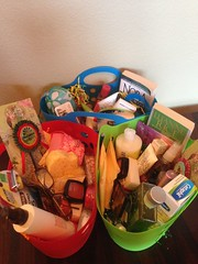 In 2014 we donated reusable baskets and collected items to fill over 300 of them with a wide variety of items that are useful in a shelter environment.