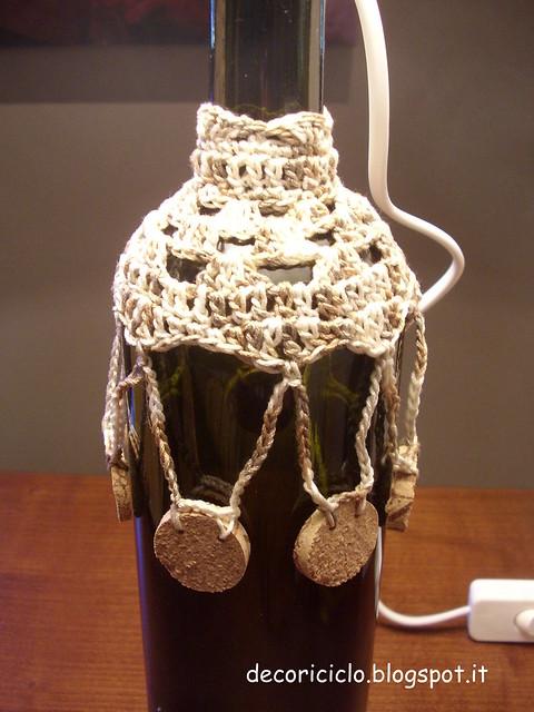 lampada bottiglia e uncinetto cotone sfumato beige 3