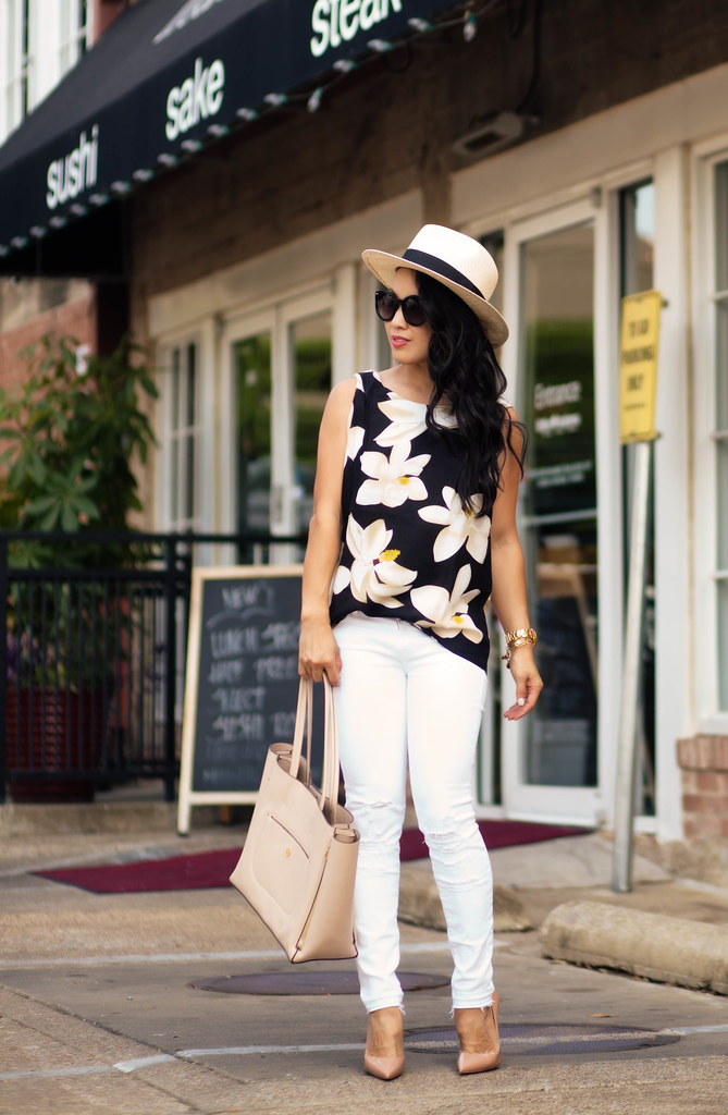 cute & little blog | black floral sleeveless top, white distressed jeans, nude tote, louboutin so kate pumps | spring summer outfit