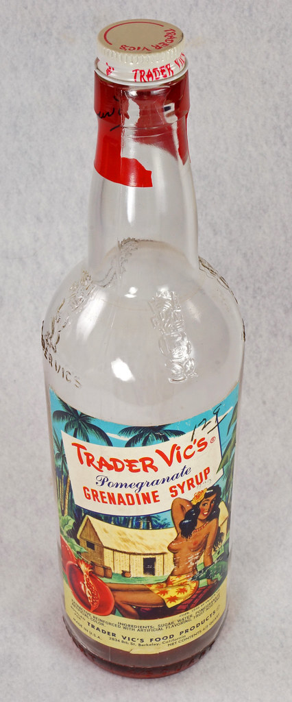 RD15320 Vintage Mid Century 1946 Bottle of Trader Vic's Pomegranate Grenadine Syrup with Topless Girl Tiki DSC09127
