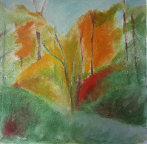 Red Leaves in the Woods (Oil Bar Painting as of May 30, 2013) by randubnick