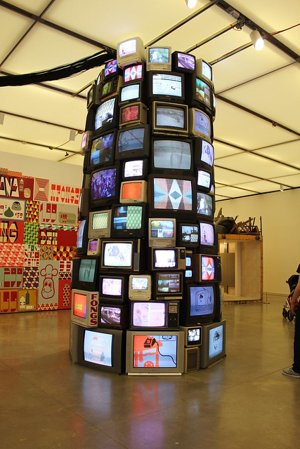 Untitled 2002/2012, a TV set tower, by Barry McGee