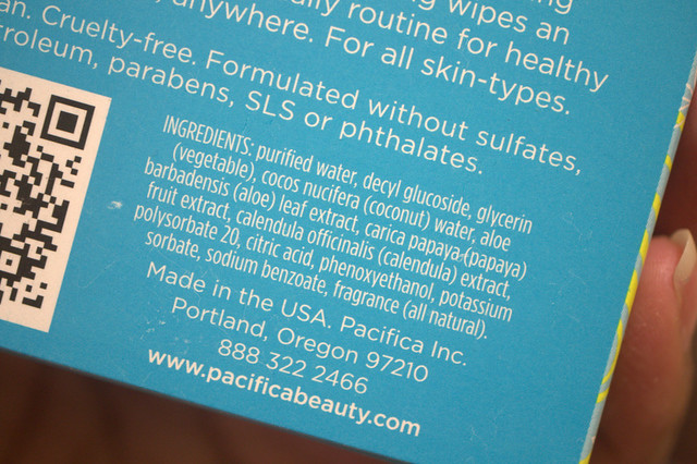 Pacifica Purify Coconut Water Cleansing Wipes ingredients