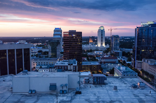 city roof sunset sky urban rooftop skyline architecture night clouds buildings lights office high orlando twilight downtown cityscape exterior purple cloudy dusk top fujifilm x100 fav10