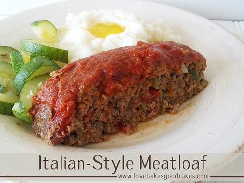 Italian-Style Meatloaf with mash potatoes and green vegetables on plate.