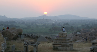Worshipping the Sunset amid the Ruins - Hampi