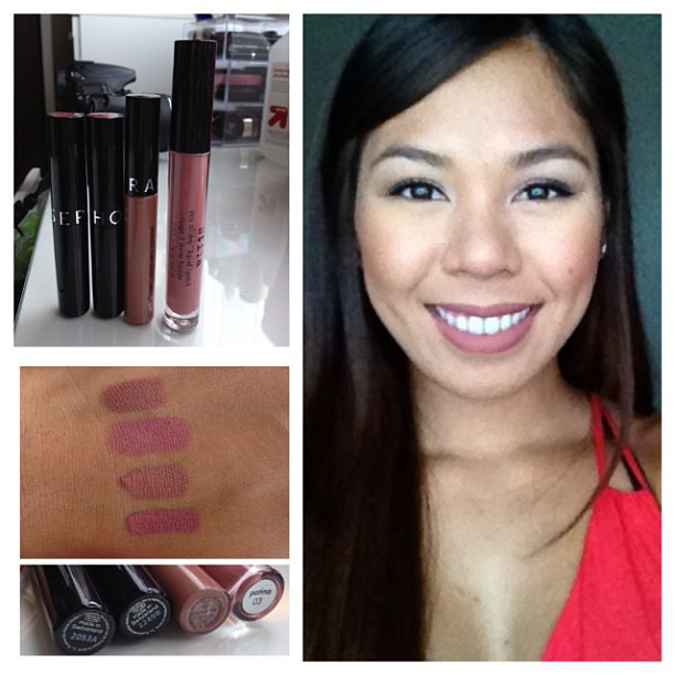 My favorite everyday lip products. Sephora color lip last: 04 brown is back, 06 blooming rose. Sephora cream lip stain: 02 classic beige. Stila liquid lipstick 03 patina. Love the matte finish, the texture smell errthang. And the brown undertones . Curren
