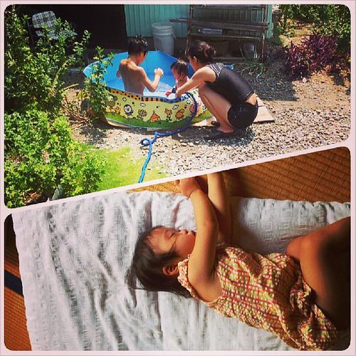 プール遊び、からのお昼寝。 のんびり夏休み。