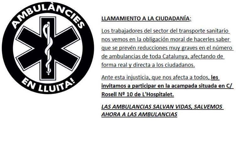 crida a la ciutadania: ambulancies en lluita