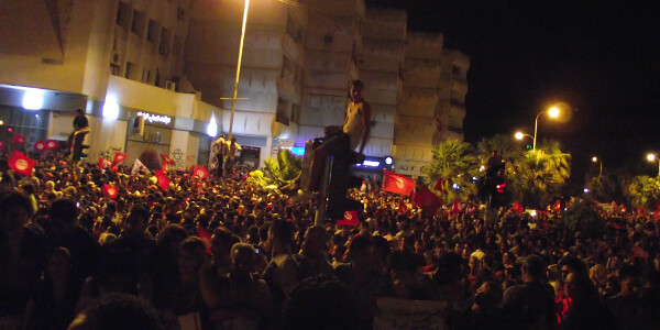 Anti-government protests in Bardo, August 2013. Image credit: Tunisia Live.