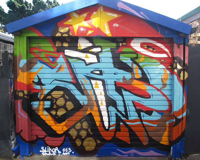 graffiti artwork by slikor at mays lane art project in st peters sydney australia